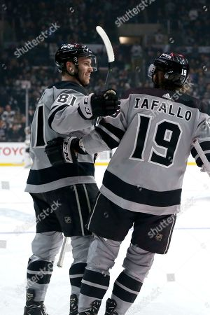 Los Angeles Kings forward Matt Roy (81) celebrates his goal with forward Alex Iafallo (19) during the second period of an NHL hockey game against Vegas Golden Knights, in Los Angeles
