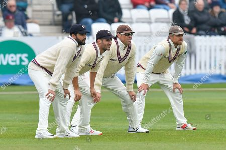 Azhar Ali, Lewis Gregory, Marcus Trescothick and James Hildreth of Somerset in the slips during the Specsavers County Champ Div 1 match between Somerset County Cricket Club and Kent County Cricket Club at the Cooper Associates County Ground, Taunton