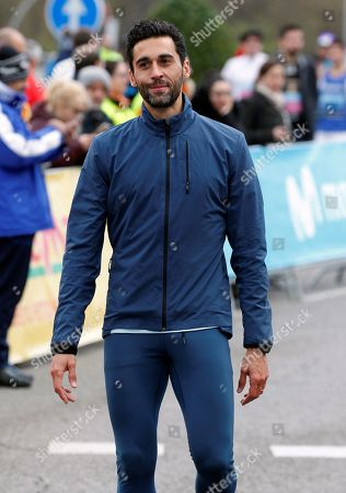Stock Picture of Former soccer player Alvaro Arbeloa gets ready for his participation in the Movistar Half Marathon in Madrid, Spain, 07 April 2019. Some 20,000 people took part in the event.