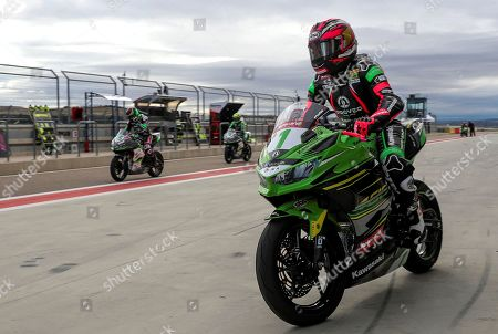Supersport300 world champion Ana Carrasco of Spain is seen during heats for the 2019 Supersport300 World Championship at the Motorland Alcaniz circuit in Alcaniz, Teruel, Spain, 07 April 2019.
