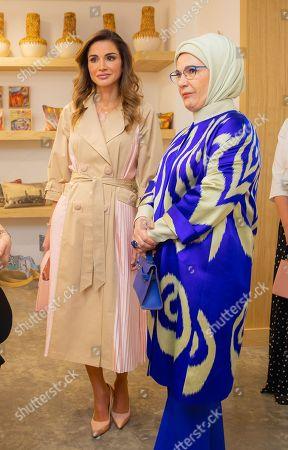 Queen Rania and Turkish First Lady Mrs. Emine Gulbaran