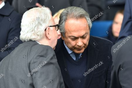 Chairman of Everton Football Club Bill Kenwright speaks with Everton owner Farhad Moshiri during the Barclays Premier League match between Everton and Arsenal at Goodison Park, Liverpool, UK