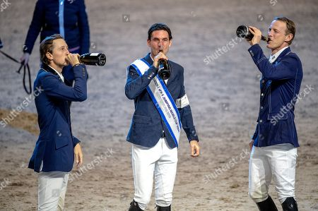 Stock Picture of (L-R) Martin Fuchs of Switzerland, second place, Steve Guerdat of Switzerland vinner and Swedens Peder Fredricson, third place celebrate on the podium for the FEI World Cup final 3 show jumping event at Gothenburg Horse Show in the Scandinavium Arena in Gothenburg, Sweden, 07 April 2019.