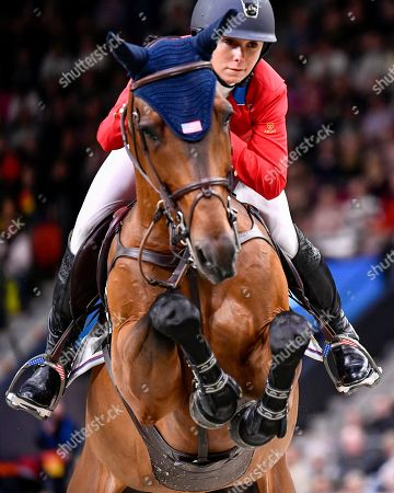 Georgina Bloomberg of the USA rides Chameur 137 during the FEI World Cup final 3 show jumping event at Gothenburg Horse Show in the Scandinavium Arena in Gothenburg, Sweden, 07 April 2019.