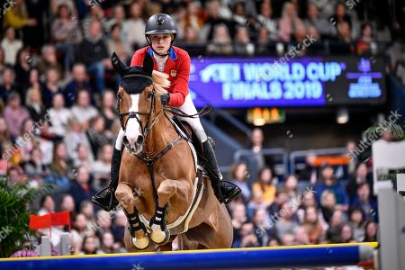 Eve Jobs of the USA rides Venue d'Fees Des  during the FEI World Cup final 3 show jumping event at Gothenburg Horse Show in the Scandinavium Arena in Gothenburg, Sweden, 07 April 2019.
