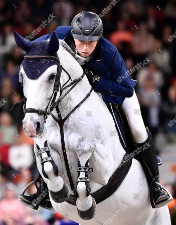 Martin Fuchs of Switzerland rides Clooney 51  during the FEI World Cup final 3 show jumping event at Gothenburg Horse Show in the Scandinavium Arena in Gothenburg, Sweden, 07 April 2019.