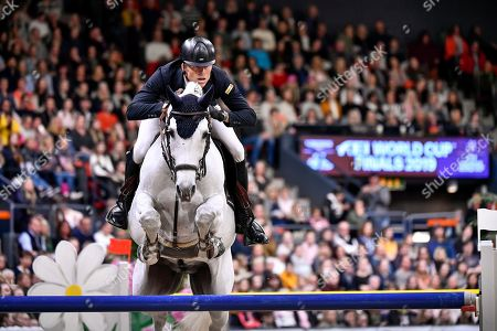 Austria's Max Kuehner rides Chardonnay 79 during  the FEI World Cup final 3 show jumping event at Gothenburg Horse Show in the Scandinavium Arena in Gothenburg, Sweden, 07 April 2019.