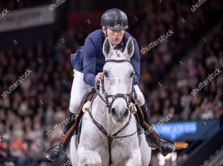 Sweden's Peder Fredricson rides Catch Me Not S during  the FEI World Cup final 3 show jumping event at Gothenburg Horse Show in the Scandinavium Arena in Gothenburg, Sweden, 07 April 2019.