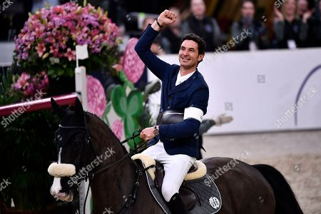 The winner Steve Guerdat of Switzerland rides Alamo during the FEI World Cup final 3 show jumping event at Gothenburg Horse Show in the Scandinavium Arena in Gothenburg, Sweden, 07 April 2019.