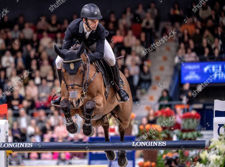 Eduardo Alvarez Aznar of Spain during the FEI World Cup final 3 show jumping event at Gothenburg Horse Show in the Scandinavium Arena in Gothenburg, Sweden, 07 April 2019.