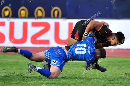 Isuzu Southern Kings vs Dragons. Southern Kings' Berton Klaasen is tackled by Josh Lewis of Dragons