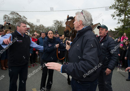 Summerhill, Co,Meath. Homecoming for Randox Aintree Grand National winner TIGER ROLL with owner MICHAEL O'LEARY, trainer GORDON ELLIOTT, groom KAREN MORGAN and EDDIE O'LEARY.