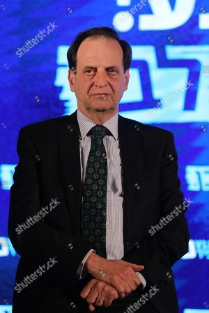 Israeli former justice minister Dan Meridor attends Blue and White party leader and prime minister candidate Benny Gantz's electoral campaign in Tel Aviv, Israel, 07 April 2019. According to media reports, pre-election polls predict a tight race between Gantz and incumbent prime minister Netanyahu. Israel will go to the polls on 09 April 2019.