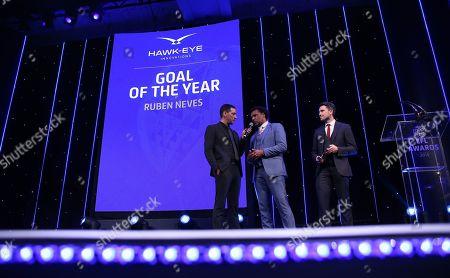 EFL Awards 2019 - Colin Murray talks with Don Goodman before the Hawk-Eye Goal of the Year award