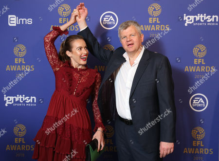 Adrian Chiles and guest arrive at the EFL Awards 2019