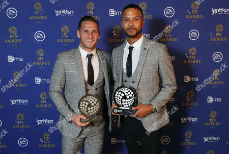 EFL Awards 2019 - Billy Sharp and Joe Thompson stand with their awards and matching suits