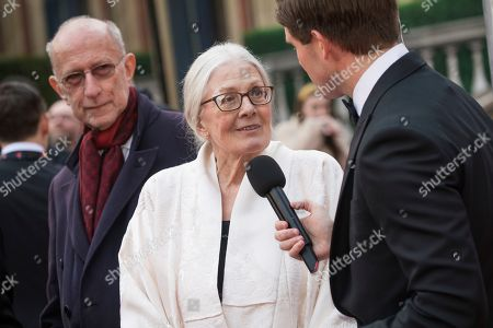 Vanessa Redgrave is interviewed upon arrival at the Olivier Awards in London