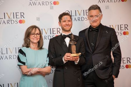 Sally Field, Kyle Soller, Bill Pullman. Actress Sally Field, from left, actors Kyle Soller and Bill Pullman pose for photographers backstage at the Olivier Awards in London