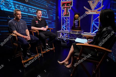 "Virginia head coach Tony Bennett, left, and Texas Tech head coach Chris Beard talk to Tracy Wolfson during an interview for CBS Sports Network's ""We Need to Talk"" show before the championship game of the Final Four NCAA college basketball tournament, in Minneapolis"
