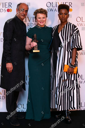 Monica Dolan accepts the award for Best Actress in a Supporting Role for All About Eve, presented by Art Malik and Jade Anouka