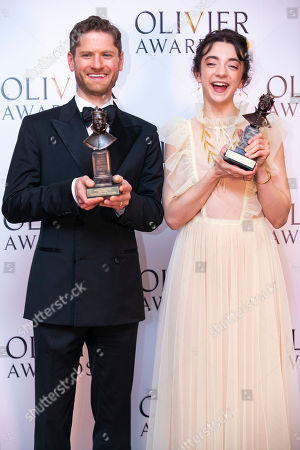 Kyle Soller accepts the award for Best Actor for The Inheritance and Patsy Ferran accepts the award for Best Actress for Summer and Smoke