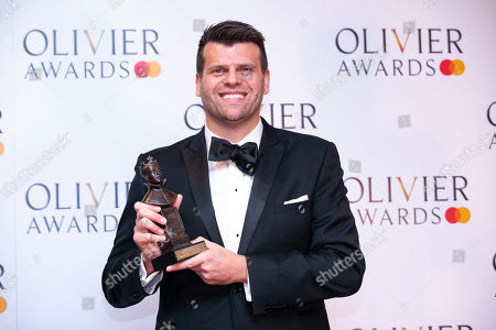 Gareth Owen accepts the award for Best Sound Design for Come From Away