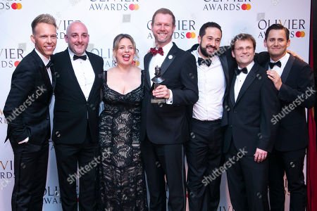 David Hein, Irene Sankoff, Ian Eisendrath, August Eriksmoen, Alan Berry accepts the award for Outstanding Achievement in Music for Come From Away, presented by Ben Pasek and Justin Paul