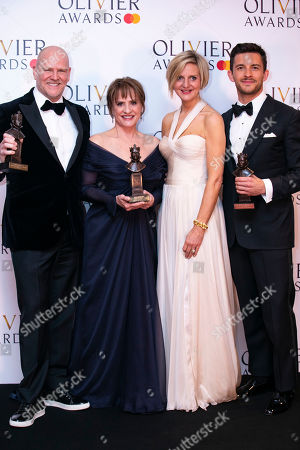 Stock Picture of Christopher Harper and Marianne Elliott accept the award for Best Musical Revival, Patti Lupone accepts the award for Best Actress in a Supporting Role in a Musical and Jonathan Bailey accepts the award for Best Actor in a Supporting Role in a Musical for Company
