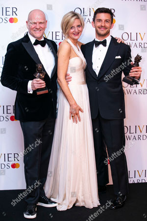 Christopher Harper and Marianne Elliott accept the award for Best Musical Revival and Jonathan Bailey accepts the award for Best Actor in a Supporting Role in a Musical for Company
