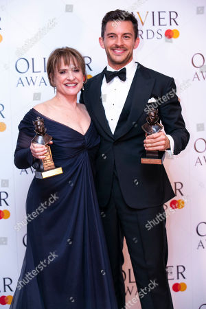 Patti Lupone accepts the award for Best Actress in a Supporting Role in a Musical and Jonathan Bailey accepts the award for Best Actor in a Supporting Role in a Musical for Company