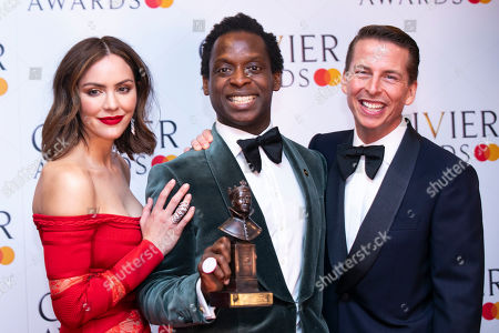 Kobna Holdbrook-Smith accepts the award for Best Actor in a Musical for Tina ? The Tina Turner Musical, presented by Katharine McPhee and Jack McBrayer