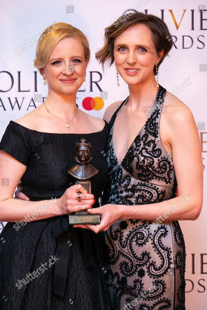 Laura Wade and Tamara Harvey accept the award for Best New Comedy for Home, I'm Darling