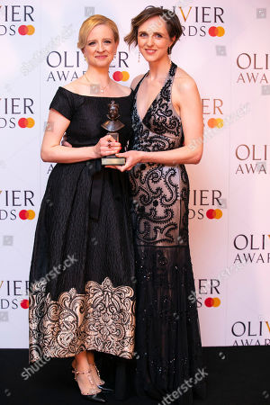 Stock Photo of Laura Wade and Tamara Harvey accept the award for Best New Comedy for Home, I'm Darling