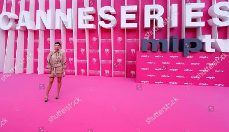 Serinda Swan poses on the pink carpet during the Cannes Series Festival in Cannes, 07 April 2019. The event will take place from 05 to 10 April.