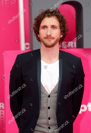Baptiste Lecaplain poses on the pink carpet during the Cannes Series Festival in Cannes, 07 April 2019. The event will take place from 05 to 10 April.