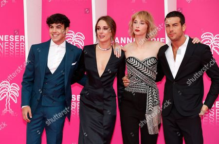 Cast members of 'Instinto', Spanish actors Oscar Casas (L), Silvia Alonso (2-L), Ingrid Garcia Jonsson (2-R) and Mario Casas (R) pose on the pink carpet during the Cannes Series Festival in Cannes, 07 April 2019. The event will take place from 05 to 10 April.