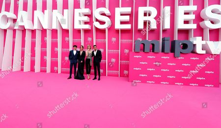 Stock Image of Cast members of 'Instinto', Spanish actors Oscar Casas (L), Silvia Alonso (2-L), Ingrid Garcia Jonsson (2-R) and Mario Casas (R) pose on the pink carpet during the Cannes Series Festival in Cannes, 07 April 2019. The event will take place from 05 to 10 April.