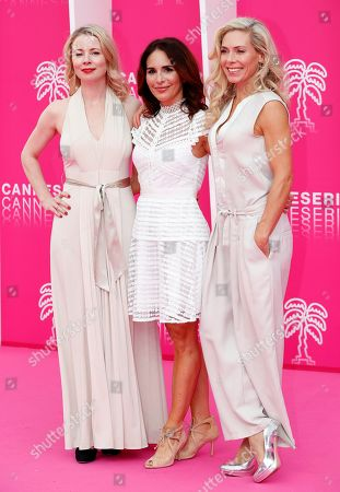 Stock Photo of Cast members of 'Honour', Swedish actresses Julia Dufvenius (L), Alexandra Rapaport (C) and Eva Rose (R) pose on the pink carpet during the Cannes Series Festival in Cannes, 07 April 2019. The event will take place from 05 to 10 April.