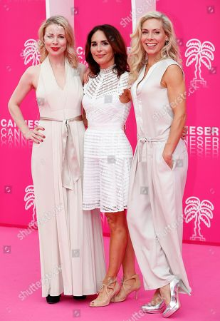 Cast members of 'Honour', Swedish actresses Julia Dufvenius (L), Alexandra Rapaport (C) and Eva Rose (R) pose on the pink carpet during the Cannes Series Festival in Cannes, 07 April 2019. The event will take place from 05 to 10 April.