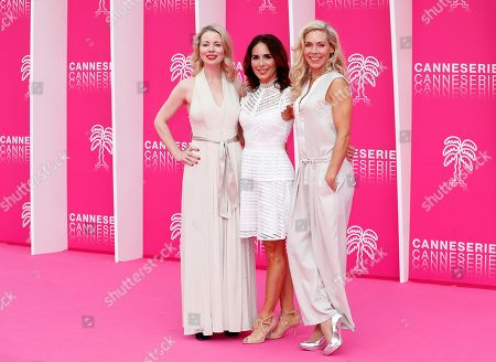 Stock Image of Cast members of 'Honour', Swedish actresses Julia Dufvenius (L), Alexandra Rapaport (C) and Eva Rose (R) pose on the pink carpet during the Cannes Series Festival in Cannes, 07 April 2019. The event will take place from 05 to 10 April.