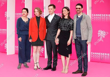 Cast members of 'The Master Butcher', Sarah Kierkegaard (L), Leonie Benesch (2-L), Jonas Nay (C), Aylin Tezel (2-R) and Oliver Berben (R) pose on the pink carpet during the Cannes Series Festival in Cannes, 07 April 2019. The event will take place from 05 to 10 April.