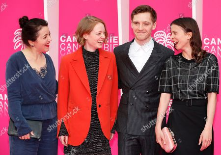 Cast members of 'The Master Butcher', Sarah Kierkegaard (L), Leonie Benesch (2-L), Jonas Nay (2-R) and Aylin Tezel (R) pose on the pink carpet during the Cannes Series Festival in Cannes, 07 April 2019. The event will take place from 05 to 10 April.