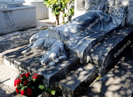 Detail of the tomb of US animal rights activist Jeannette Ryder (1866-1931) where ended a march against animal abuse in Havana, Cuba, on 07 April 2019. Cubans marched to demand the end of animal abuse and the approval of a law on the subject, on a pilgrimage allowed by the authorities of the island, where independent public demonstrations are not common.