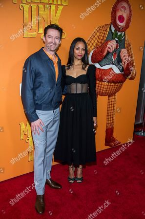 "Hugh Jackman, Zoe Saldana. Hugh Jackman and Zoe Saldana attend the premiere of ""Missing Link"" at Regal Cinemas Battery Park, in New York"