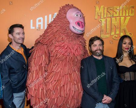 "Hugh Jackman, Zach Galifianakis, Zoe Saldana. Hugh Jackman, left, Zach Galifianakis and Zoe Saldana attend the premiere of ""Missing Link"" at Regal Cinemas Battery Park, in New York"