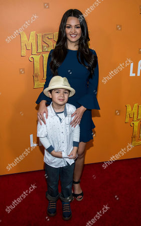 """Paula Garces and her son attend the premiere of """"Missing Link"""" at Regal Cinemas Battery Park, in New York"""