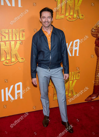 """Hugh Jackman attends the premiere of """"Missing Link"""" at Regal Cinemas Battery Park, in New York"""