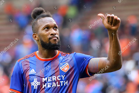 FC Cincinnati's Kendall Waston gives a thumbs up to fans after an MLS soccer game between FC Cincinnati and Sporting Kansas City at Nippert Stadium in Cincinnati, Ohio