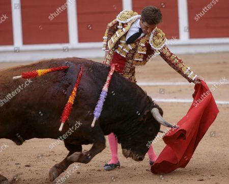 Spanish bullfighter Julian Lopez 'El Juli' fights with his first bull during the 1st bullfighting of the Spring held at Las Cruces bullring, in Guadalajara, Spain, 07 April 2019.