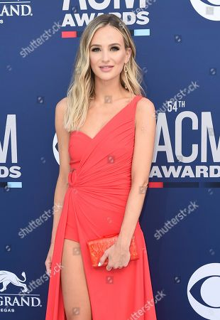 Lauren Bushnell arrives at the 54th annual Academy of Country Music Awards at the MGM Grand Garden Arena, in Las Vegas